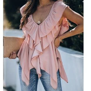 Ruffle asymetrical cut out back top